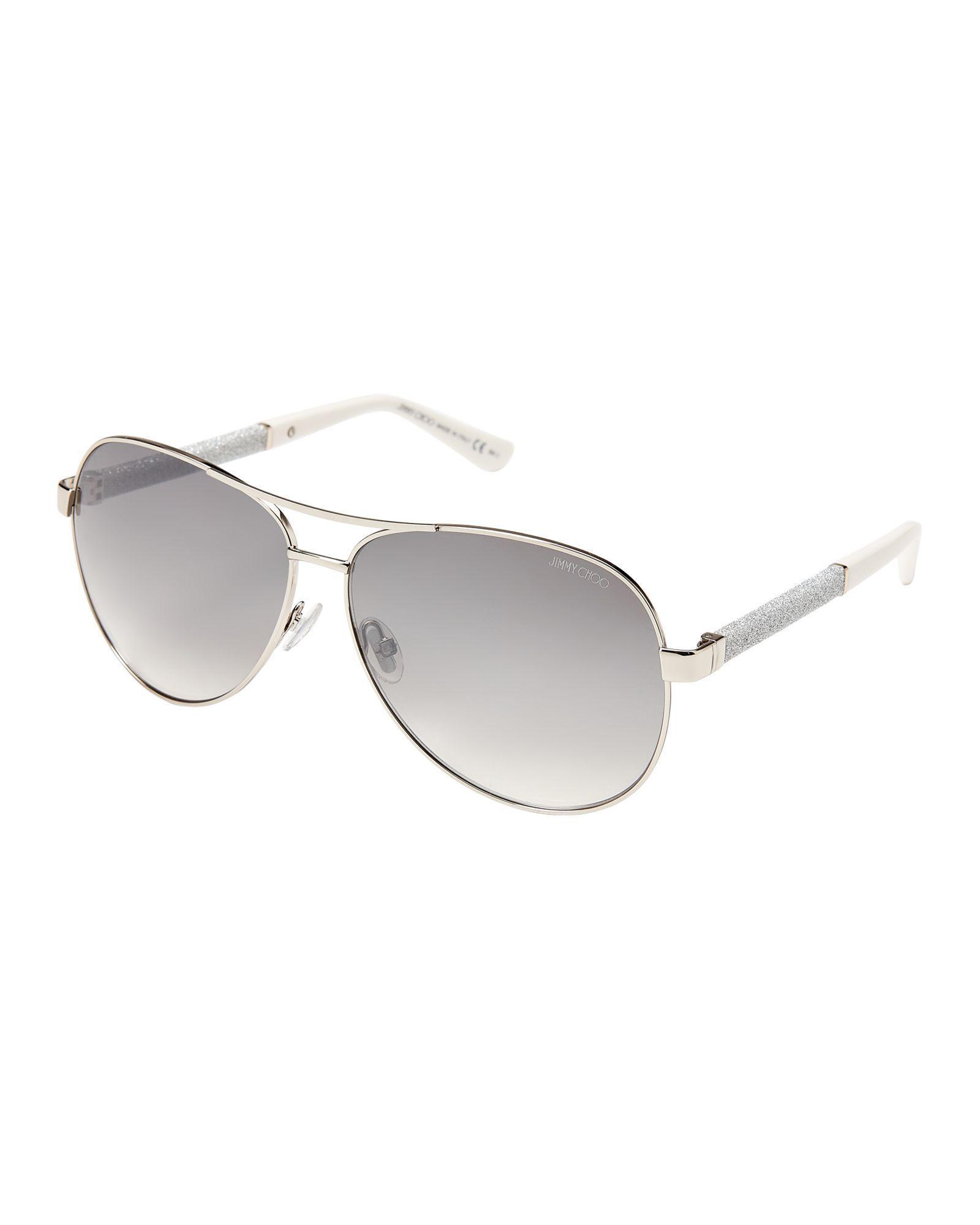 ac67d8d81a8 Jimmy Choo Lexie Silver-Tone Aviator Sunglasses