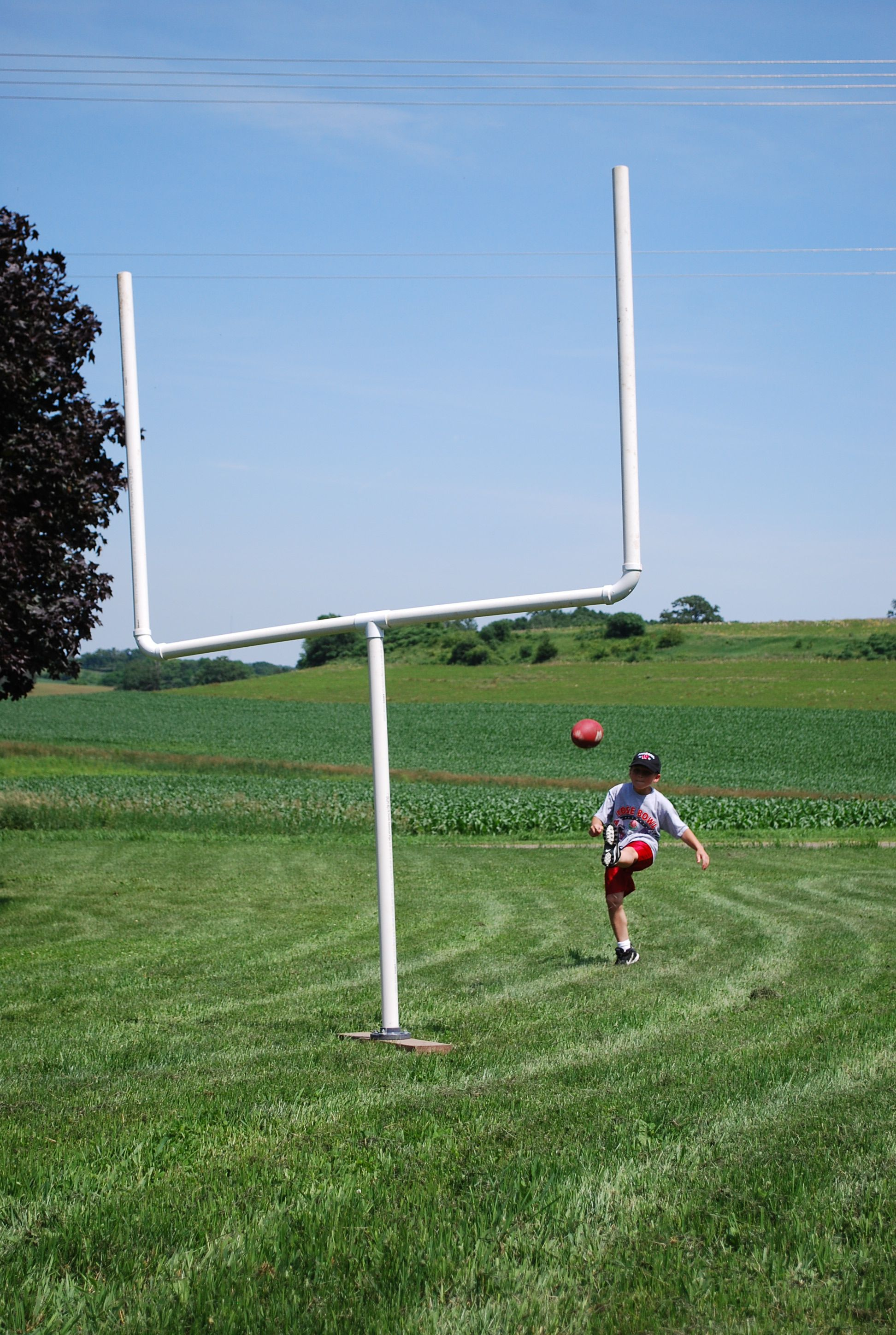 homemade football rugby uprights using pvc pipe outside the home