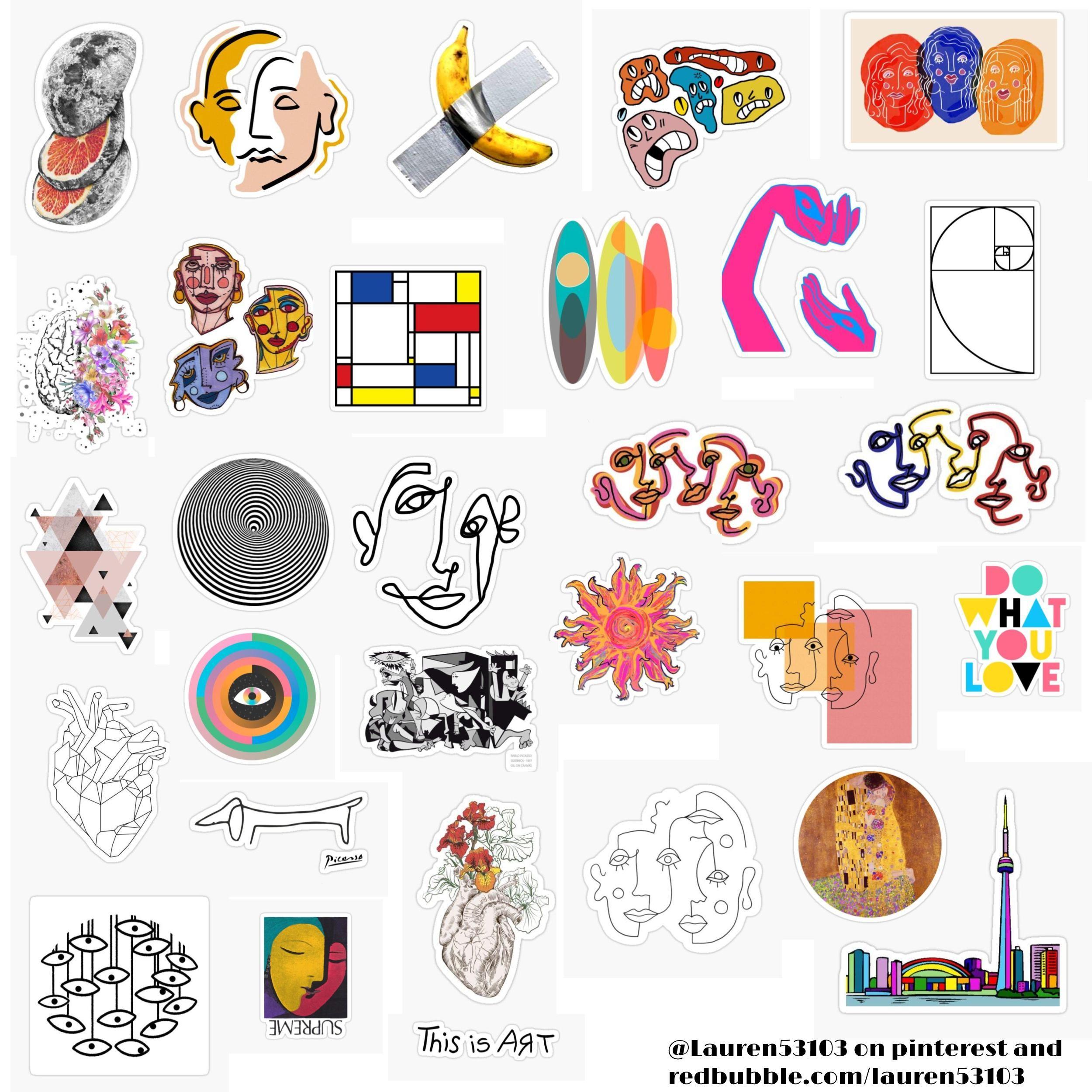 Abstract Sticker Pack In 2020 Hippie Sticker Sticker Art Cute Laptop Stickers