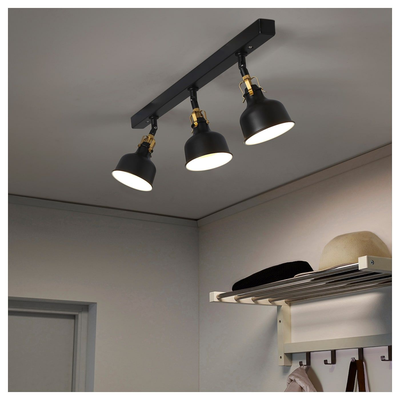 Ranarp Takskena 3 Spots Svart Ikea Black Ceiling Lighting Track Lighting Bedroom Kitchen Ceiling Lights