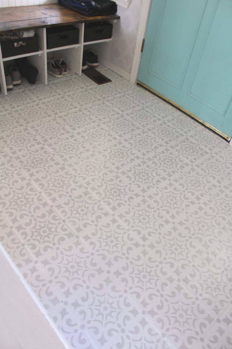Painted And Stenciled Tile Floor Update Stenciled Tile Floor Tile Floor Painting Tile Floors