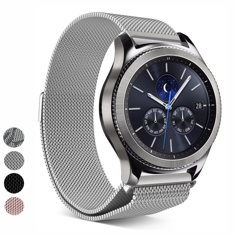 Qingz Magnetique En Acier Inoxydable Boucle Bracelet Pour Samsung Gear S3 Classic S3 Frontier Smart Watch Band Sangle De Bra Mesh Band Watch Bands Classy Watch