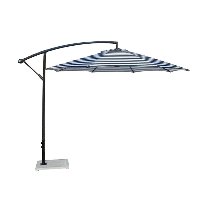 Waterproof Aluminum Striped Blue Offset Cantilever Patio Umbrella With Base