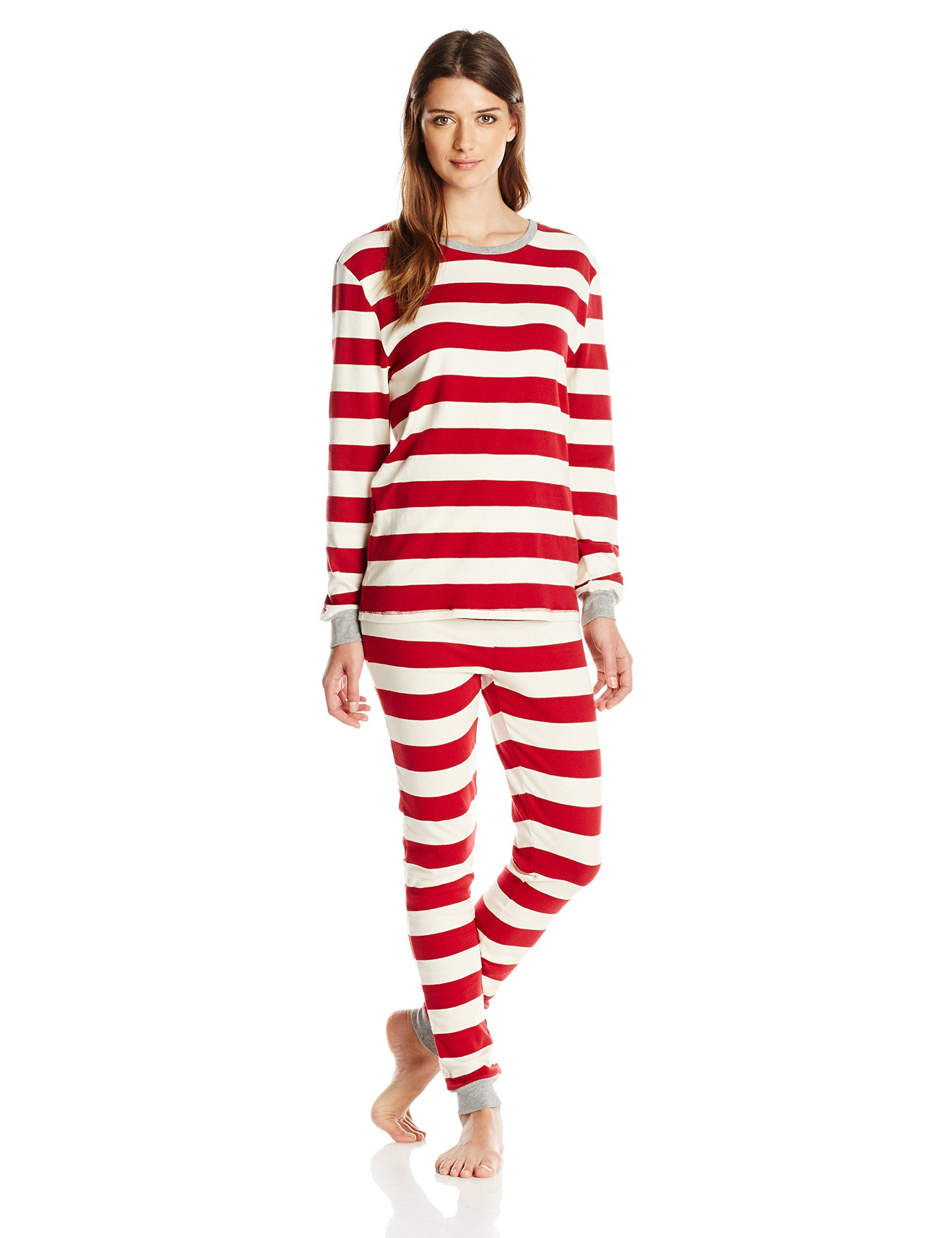 a6a62fed4d Burt's Bees Women's Sleepwear Women's Adult Cotton Pajama Set, Cranberry  Rugby Stripe, Large
