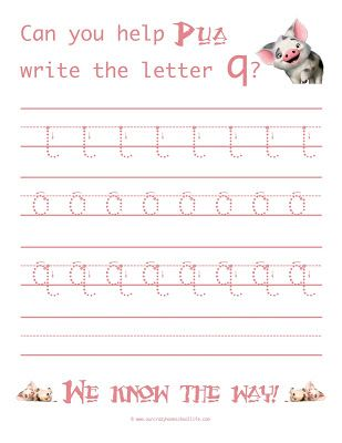 Free Learn To Write The Letter Q With Moana  Handwriting