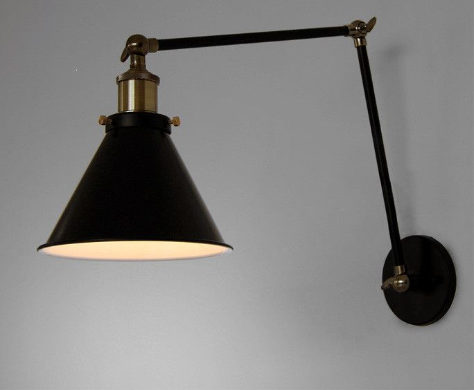 Black Cone Shade Wall Light Sconce With Long Arm In 2019