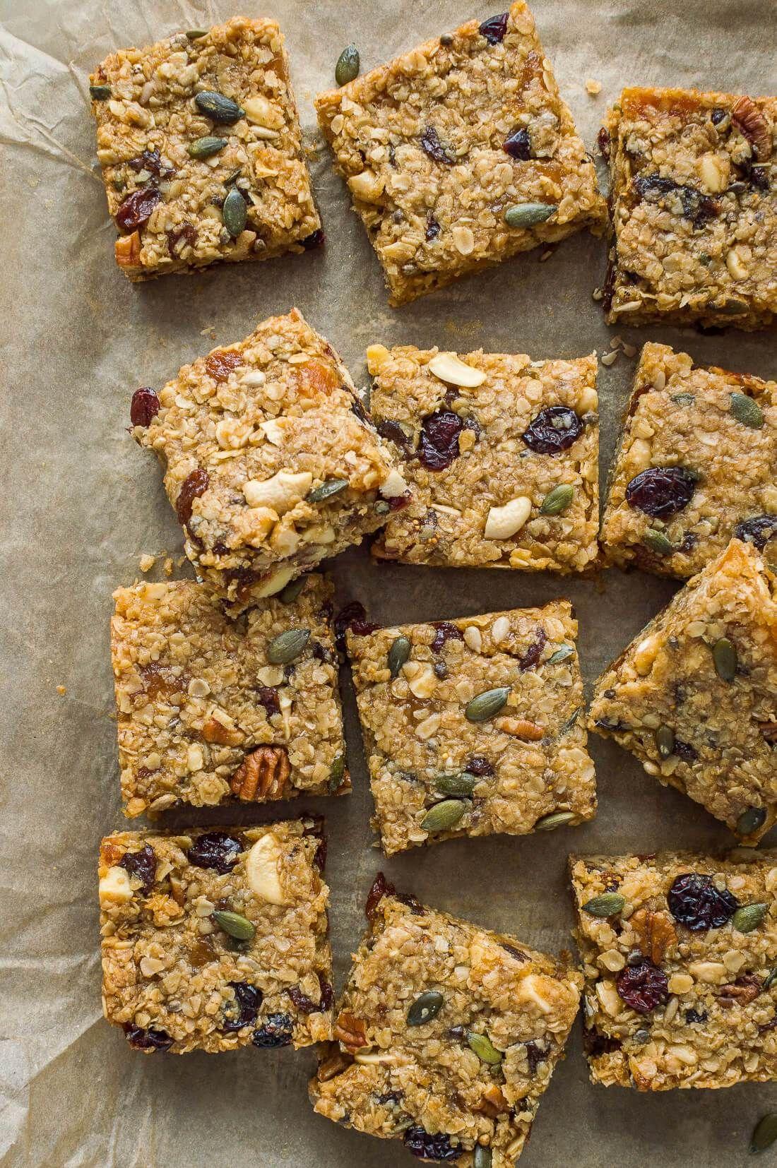 47 Recipe Tasty Fruity Flapjacks: Squares Of Vegan Fruit And Nut Flapjacks On A Baking