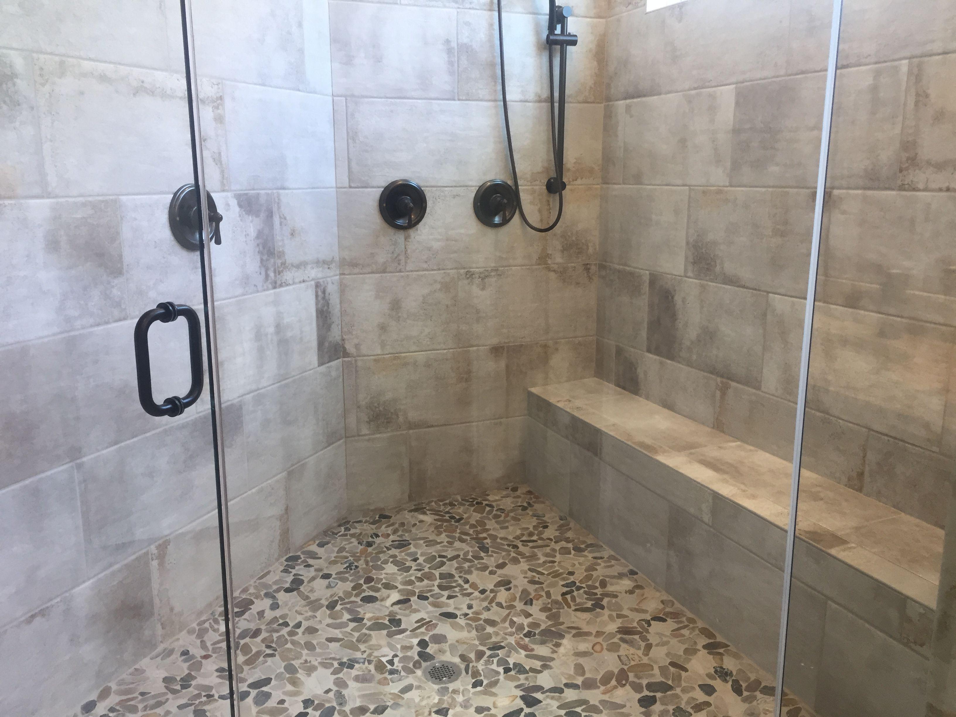 Cotto Contempo Pennsylvania Avenue 12x24 Wall Tile Installed Horizontal Brick Joint Brick Tiles Bathroom Bathroom Tub Tub Tile
