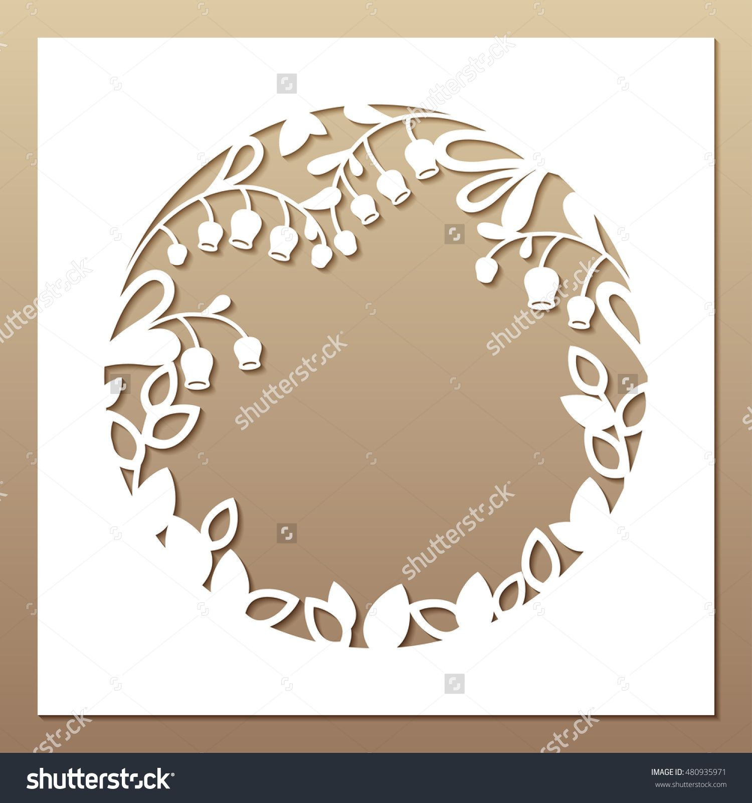 Openwork White Frame With Leaves And Flowers. Laser Cutting Template ...