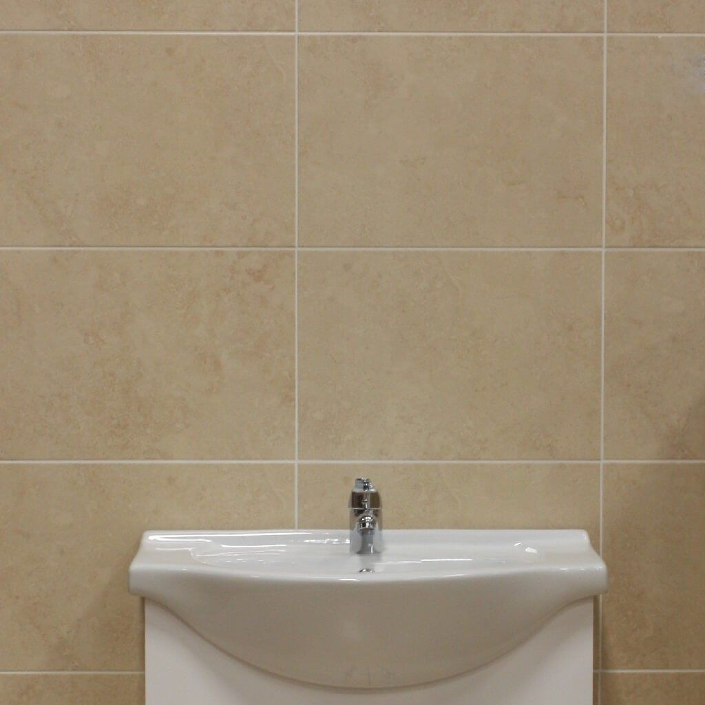 rapolano cream bathroom wall tiles with hand basin