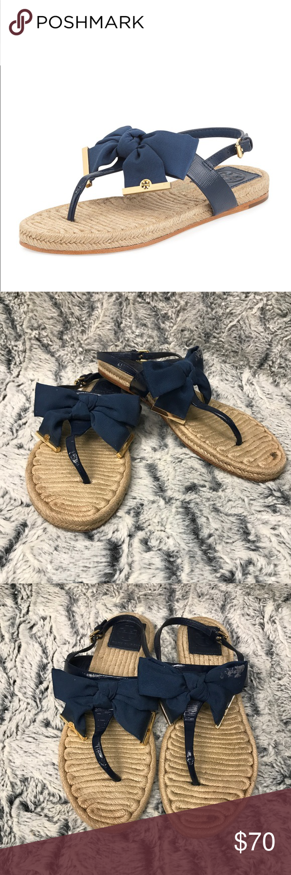 98605917e35 Tory Burch Penny Flat Bow Espadrille Sandals