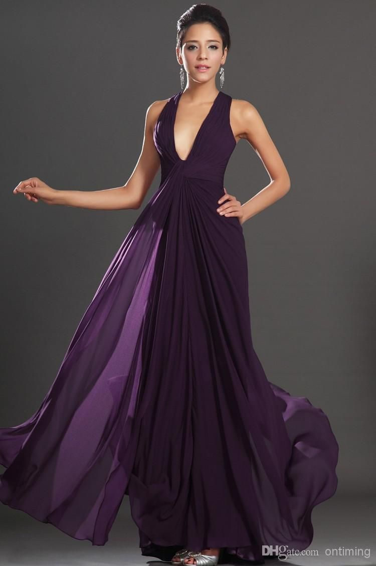 2017 Y Deep V Neck Long Chiffon Bridesmaid Dresses Dark Purple Backless A Line Flowy Wedding Party Prom Junior Maid Of Honor Wxc