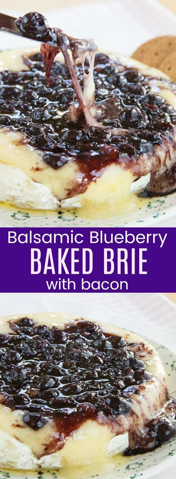 Balsamic Blueberry Baked Brie Recipe with Bacon - so much ooey gooey goodness in this easy sweet an