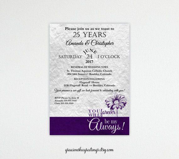 25th Anniversary Vow Renewal Invitation Silver Anniversary