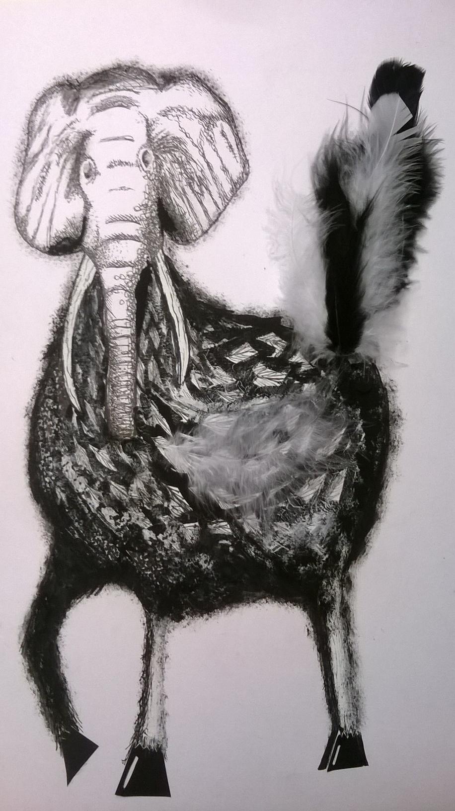 Art Plastique Chimere En Collages Gouache Dessin C Cecile Jacquin Porretaz Art Moose Art Digital Art