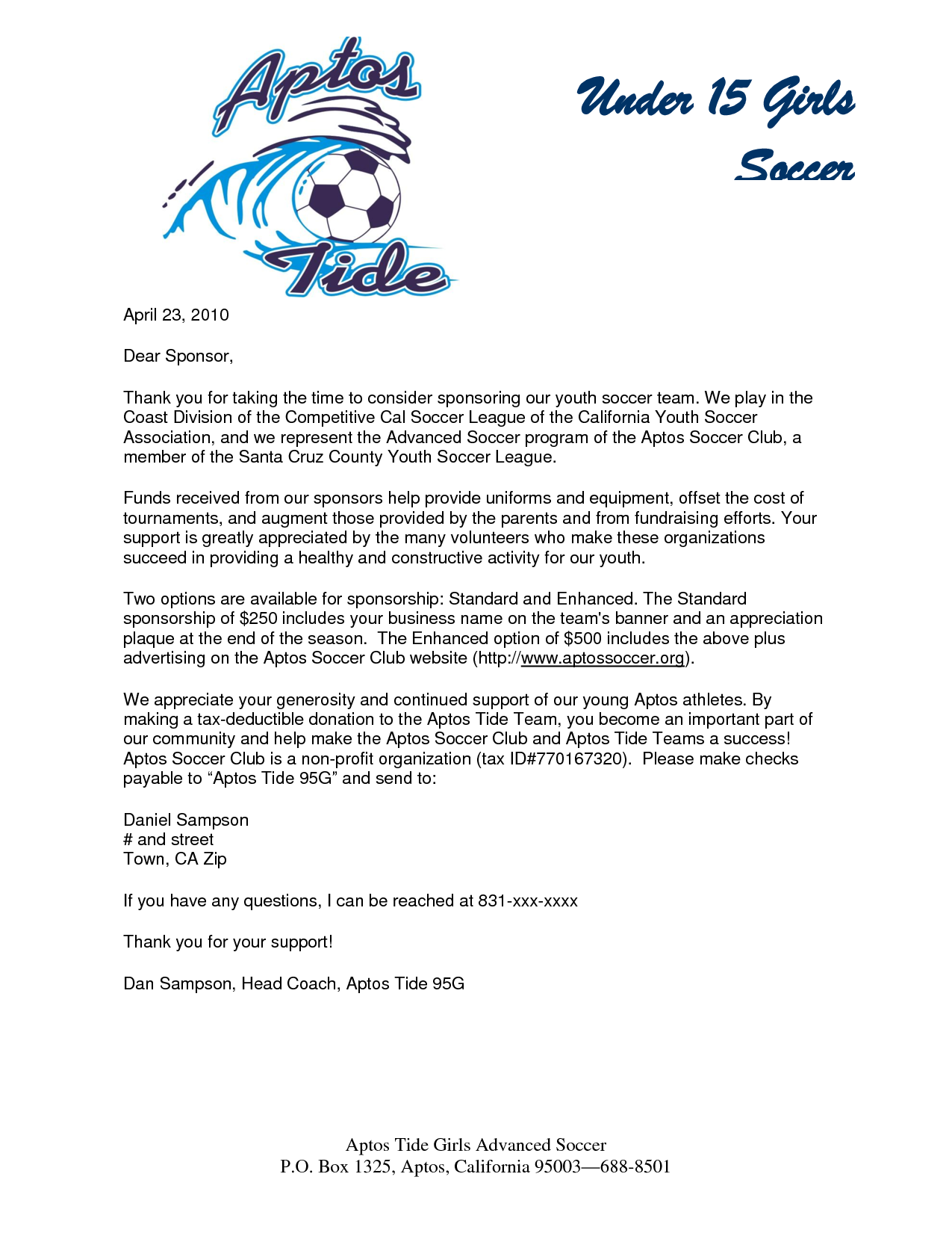 parent thank you letter from youth athletes – Sample of a Sponsorship Letter