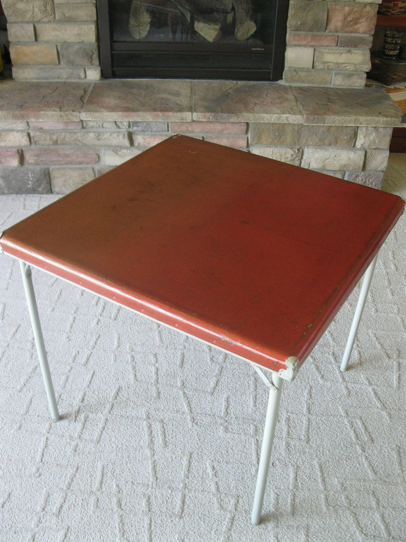 Vintage Samson Samsonite Red Card Table Style No 5708