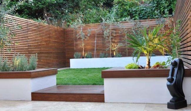 garten modern holzzaun sichtschutz symmetrische formen | garten, Gartenarbeit ideen