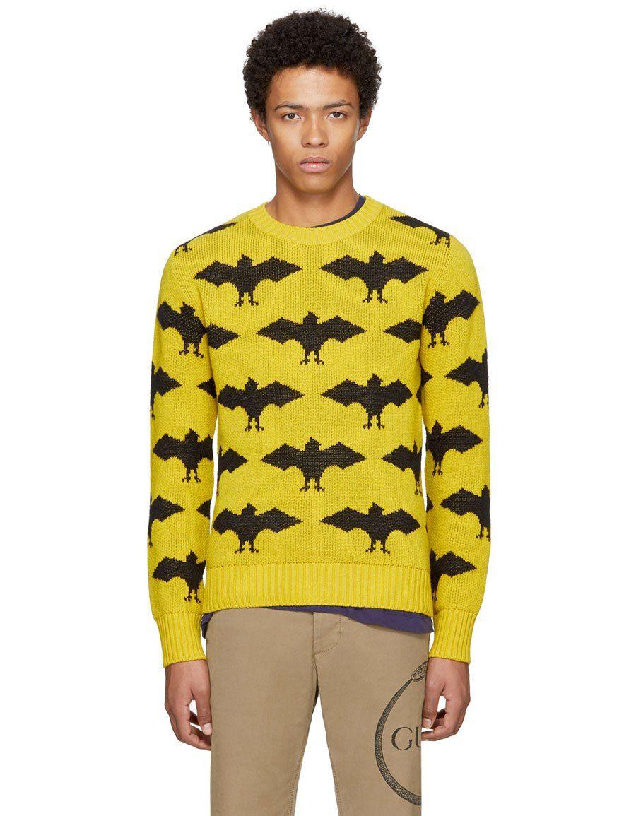 86fb7a63 b>GUCCI</b><br> Yellow & Black Jacquard Bat Sweater | Wear It ...