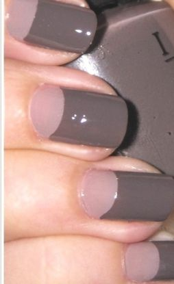 Half moon manicure with dusty rose and grey