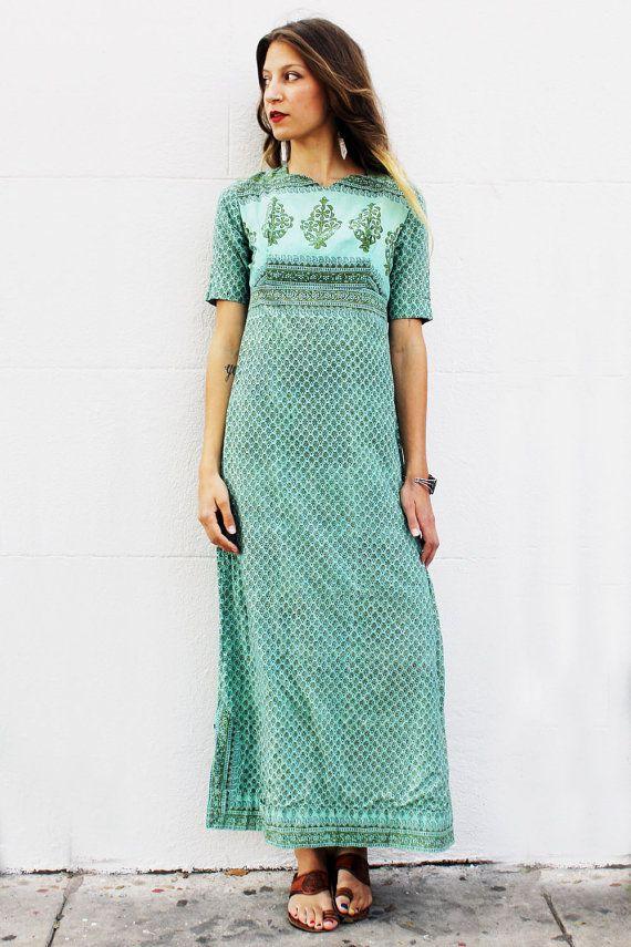 1970's Green Indian Floral Dress from Tavin Boutique www.tavinboutique.com