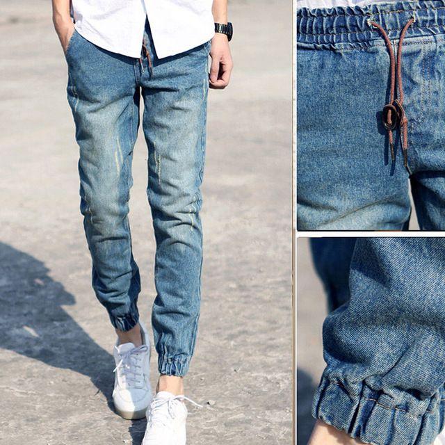 MEN/'S DENIM BLUE STRETCH SLIM FIT DENIM JOGGER PANTS S-3XL