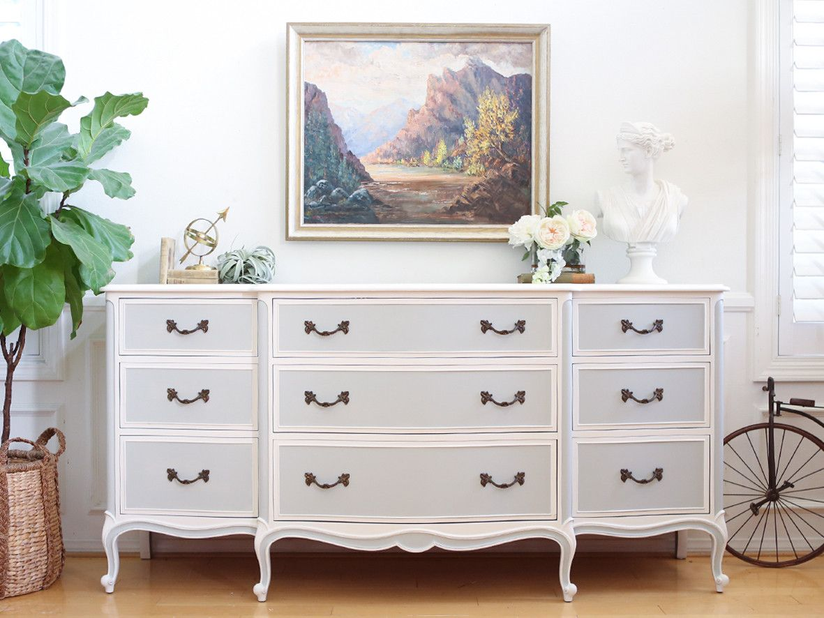 Drexel Shabby Chic French Provincial Vintage Dresser, Buffet, Credenza Gray  &
