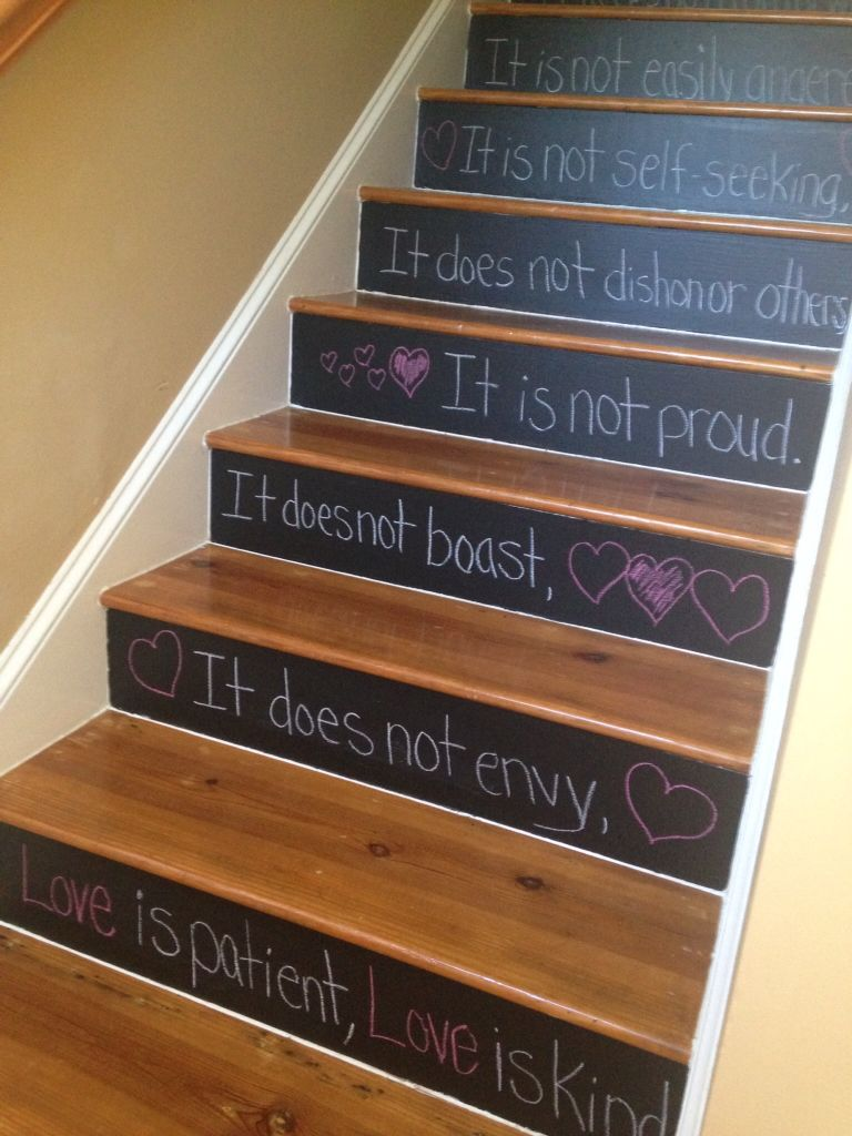 My Stairs Painted With Black Chalkboard Paint! I Can Now Write Or Draw  Anything On Them That I Want. The Paint Took 3 Coats But It Was Really Easy!
