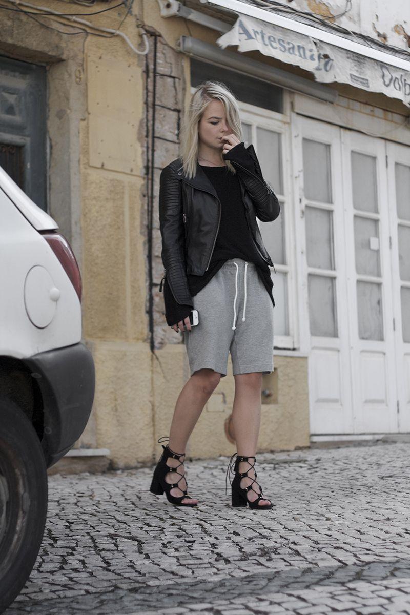 2e1db4fc2fb zara laceup block heeled sandals boyfriend shorts lookbook store leather  jacket outfit