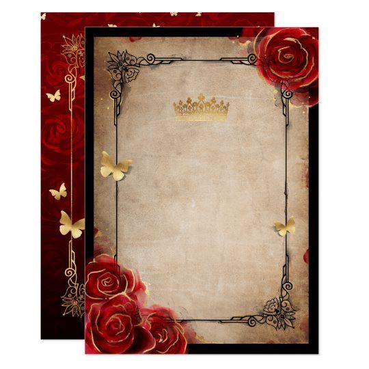 Vintage Red Rose Black Gold Elegant Quinceanera In