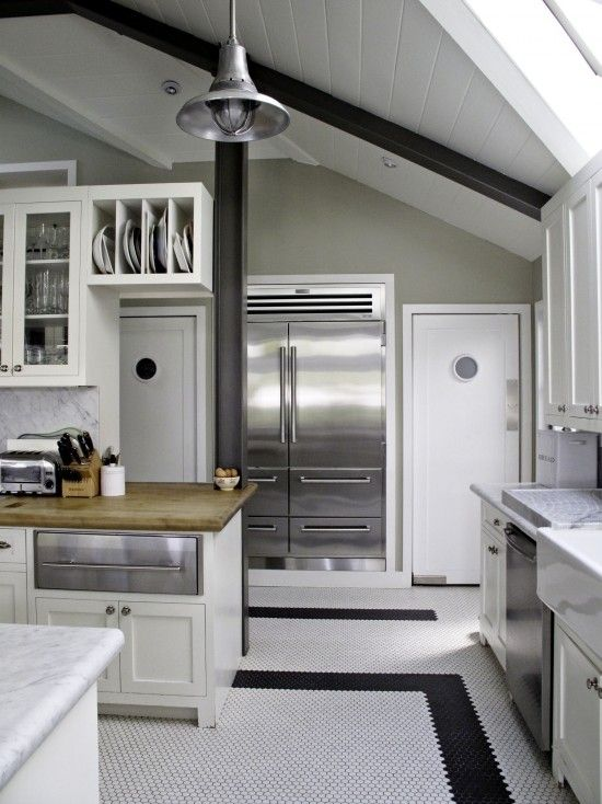 suzie tim barber amazing kitchen with vaulted ceiling white vintage penny tiles floor with on kitchen cabinets vaulted ceiling id=26100
