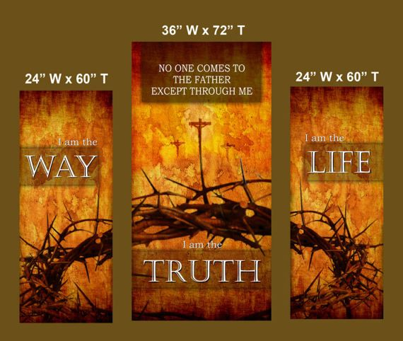 Way Truth Life Set Of 3 Banners G917 Etsy Life Vinyl Banners Truth