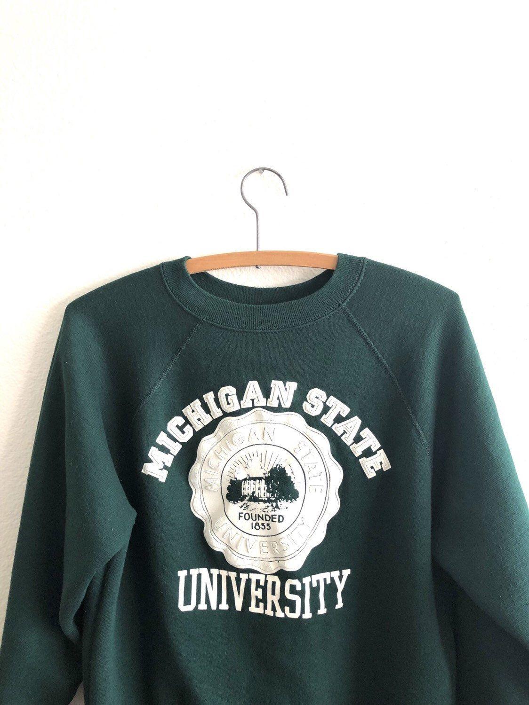 Vintage Michigan State University Sweatshirt Michigan Msu Etsy Vintage Michigan Vintage Crewneck Sweatshirt Sweatshirts [ 1500 x 1124 Pixel ]