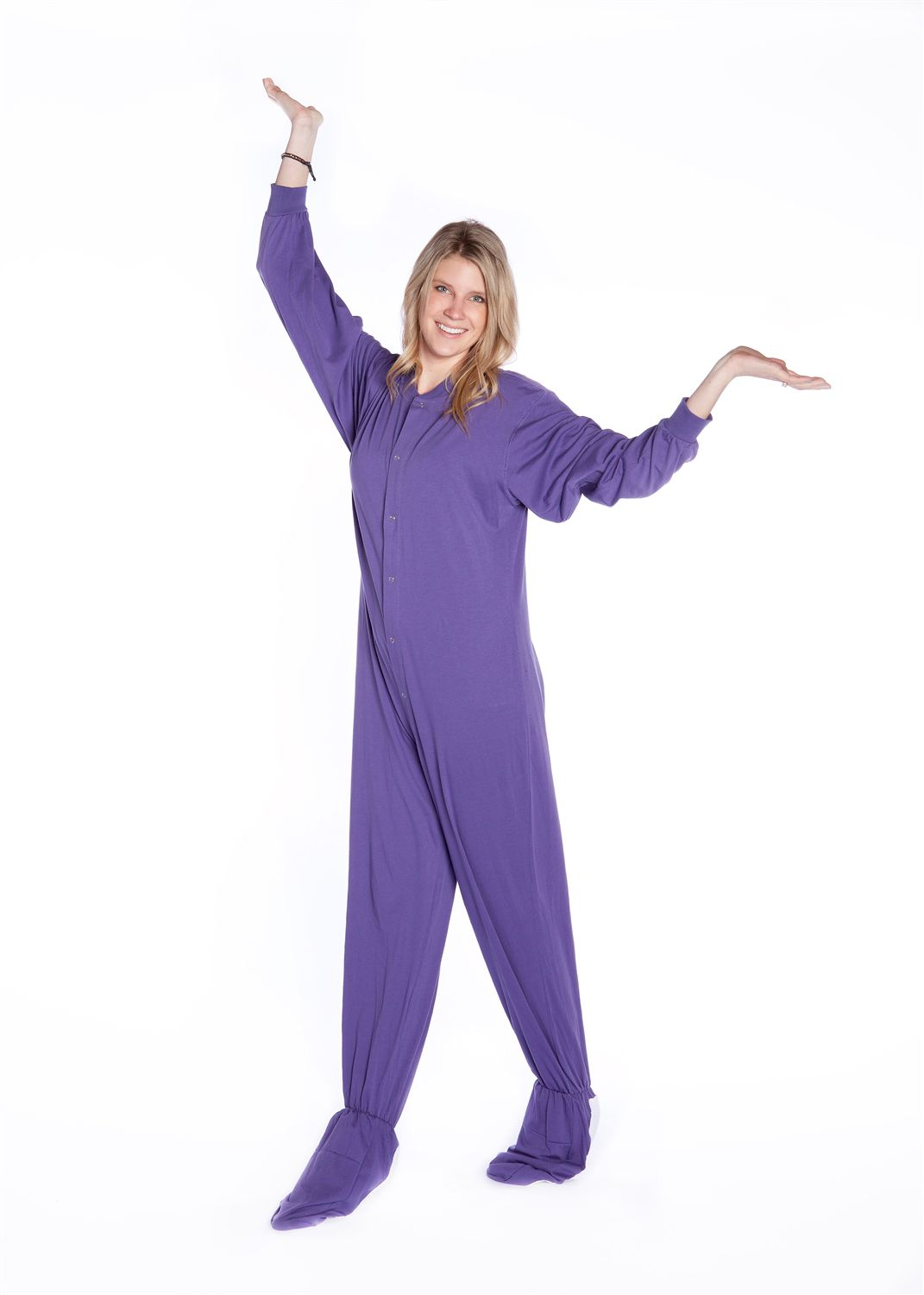 ddc35d4b52c5 Big Feet Pajama Co purple jersey knit onesie footed pajama has been ...