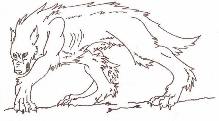 werewolf walking in all four coloring pages