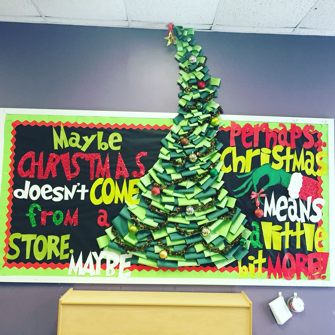 How the Grinch Stole Christmas bulletin board used for a