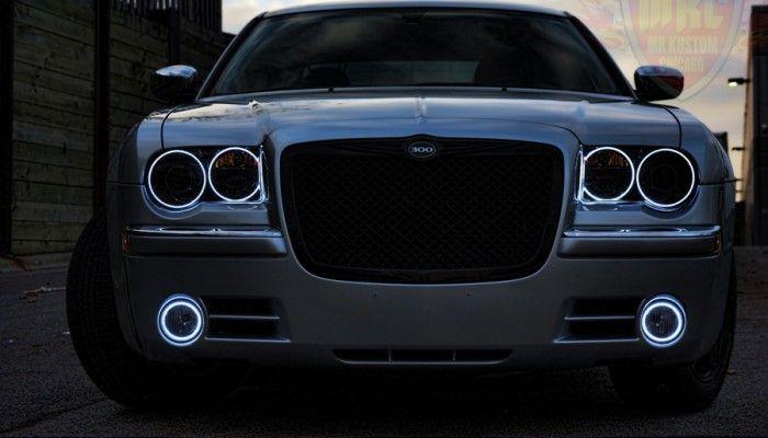 2005 Chrysler 300 White Halo Rings Smoked Headlights Smoked Tail