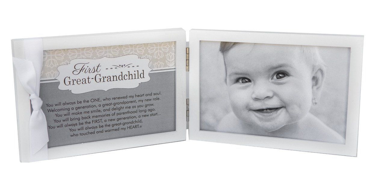 First Grandchild Picture Frame White Double Hinged Tabletop Photo