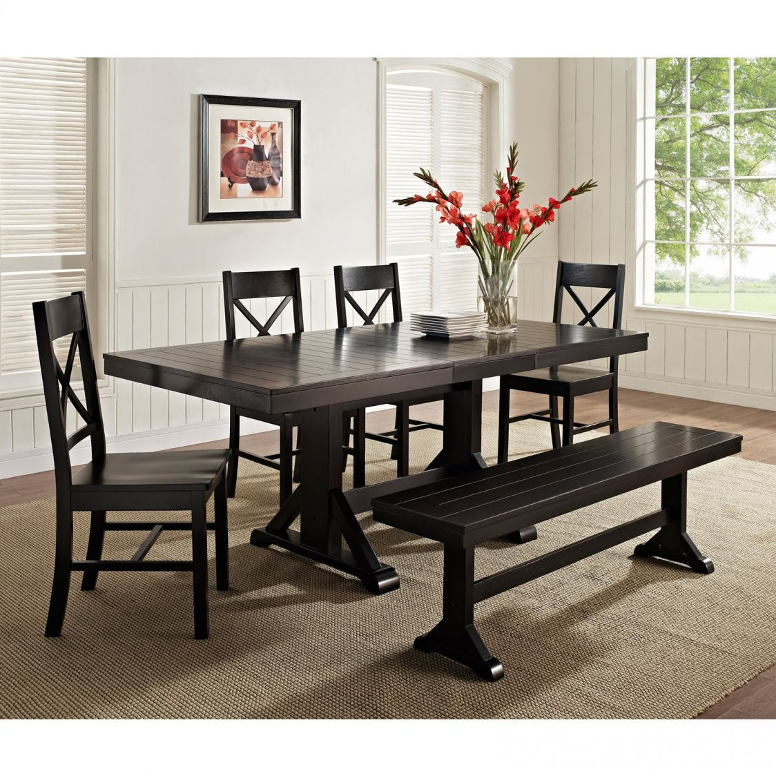 Black Dining Room Table with Bench Cool Rustic Furniture Check