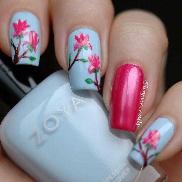 Magnolia Flower Nail Art | ::: Mani Musts ::: | Pinterest | Flower ...