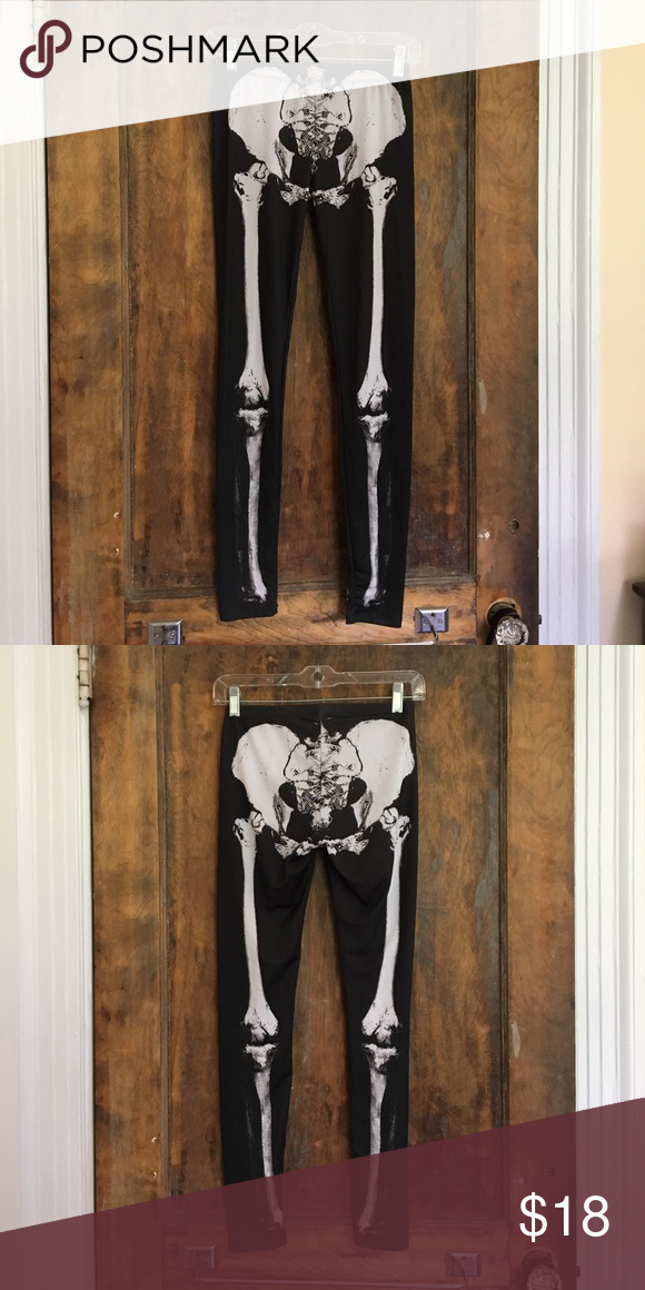 Skeleton Leggings Black skeleton leggings worn once for Halloween. Fits size small/medium. I don't remember the name of the store I bought them from! Urban Outfitters Pants Leggings