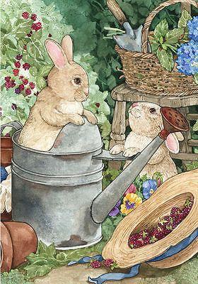 Bunny-Travesuras-Primavera-Casa-Bandera-conejo-del-sombrero-de-paja-Flor-Regadera-28-X40