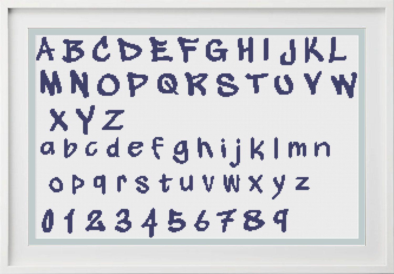 Cross stitch alphabet Chart - Modern Graffiti Handwritten Alphabet Chart Pattern - counted cross stitch xstitch quirky chart (4.00 GBP) by PeppermintPurple