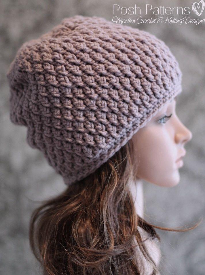 Crochet PATTERN - Cable Crochet Slouchy Hat Pattern | Gorros, Tejido ...