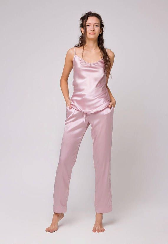be54a0b33f Long silk pajama set Silk top Silk pants Natural silk pajamas Silk pyjama  Silk sleepwear Bridal slee