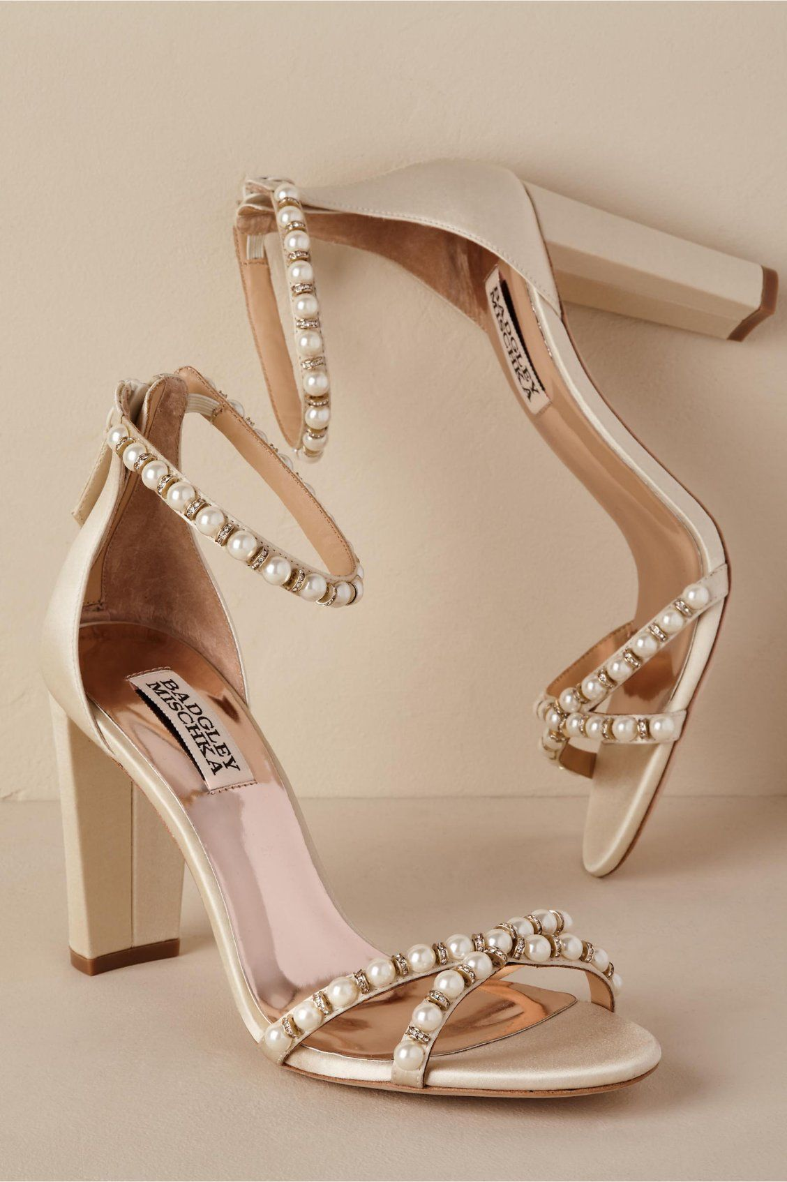 Pearl Block Heel From Bhldn Pearl Wedding Shoes Bride Shoes Wedding Shoes