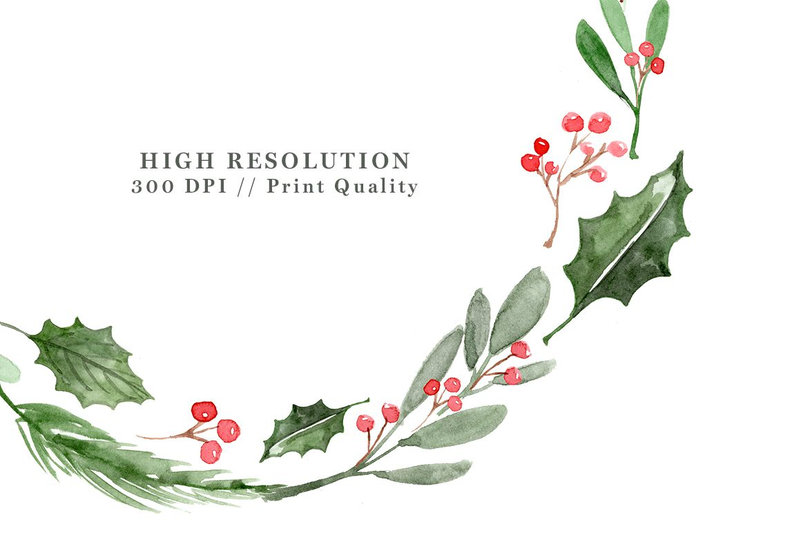 Watercolor Christmas Wreath Clipart, Christmas Card ...