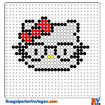 Hello Kitty mit Brille Bügelperlen Vorlage. Auf buegelperlenvorlagen ...