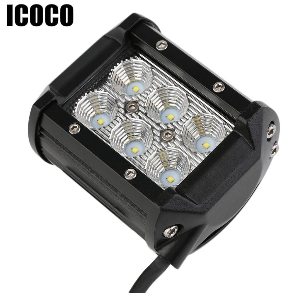 Icoco 18w Led 12v Work Light Dual Row Offroad Auxiliary Lights 18w 6500k Led Floodlight Driving Lamp For 12v 24v Vehicle Car Lights Led Work Light Work Lights
