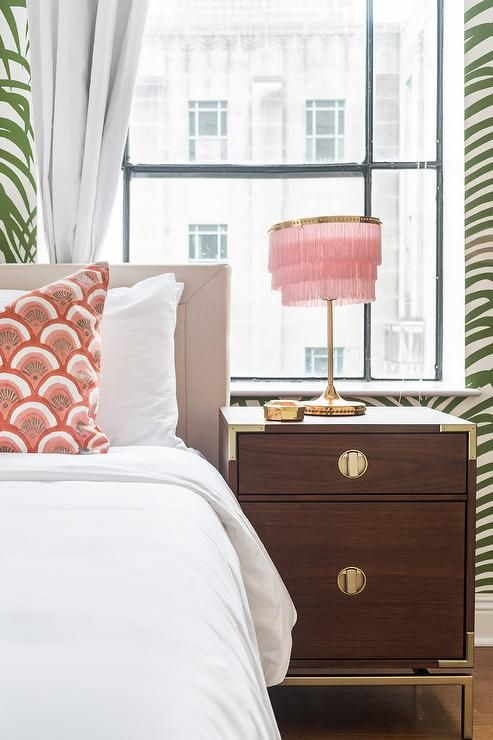 Best Pink Fringe Lamp With Brown Campaign Nightstand 400 x 300